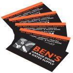 bens garage door business card